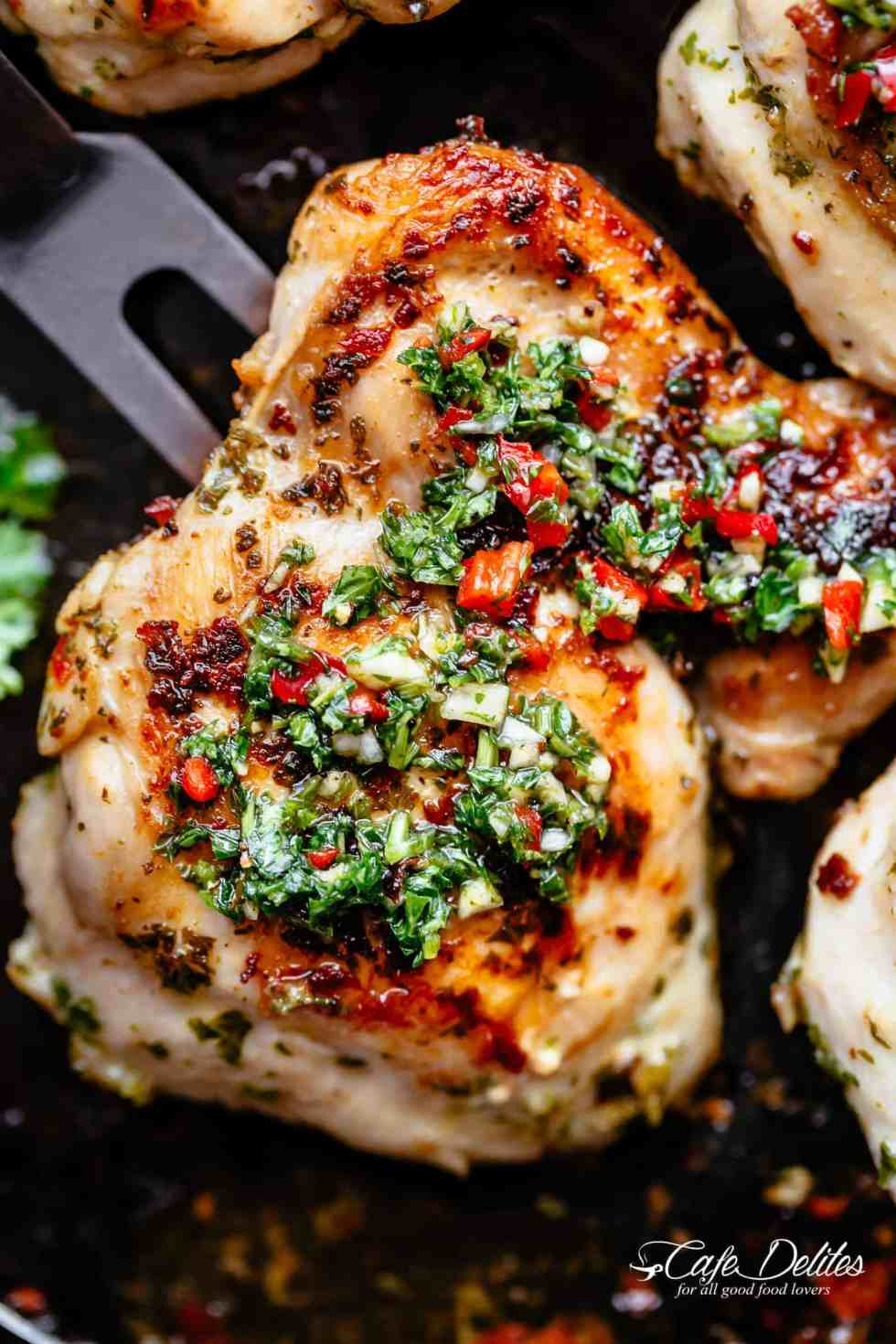 The Best Chimichurri Chicken, grilled or pan fried with authentic Argentine chimichurri! Chimichurri is growing fast in popularity and is the most perfect condiment to serve with your chicken!So easy to make and tastes incredible, yourChimichurri Chicken dinner is ready in minutes!   cafedelites.com