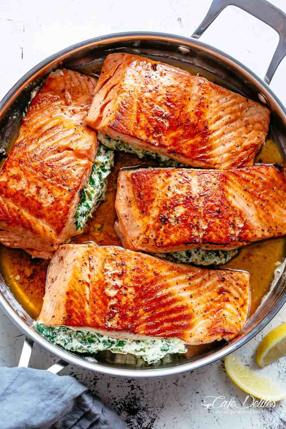 Creamy Spinach Stuffed Salmon In Garlic Butter Cafe Delites