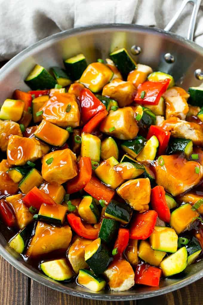 This honey soy chicken and vegetables is chunks of chicken and colorful veggies, all topped off with a sweet and savory sauce. The perfect easy dinner for a busy week night!