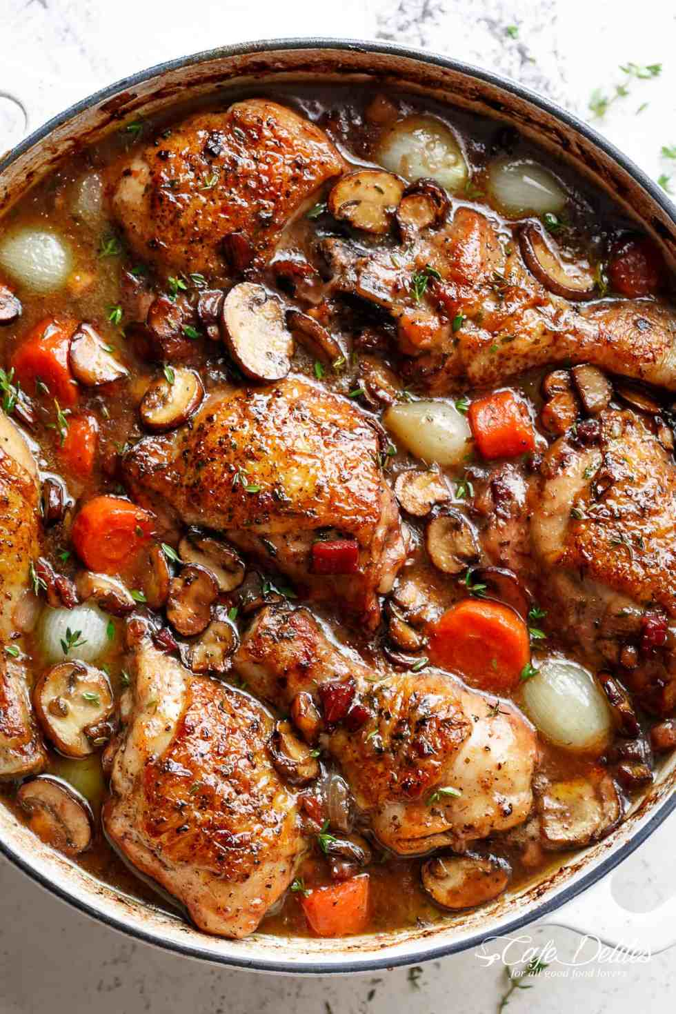 Coq Au Vin with crispy chicken drumsticks, chicken thighs and bacon | cafedelites.com