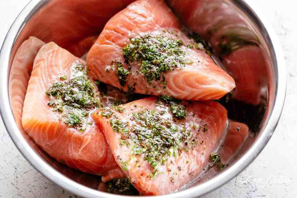 Lemon Herb Avocado Salmon Salad | cafedelites.com