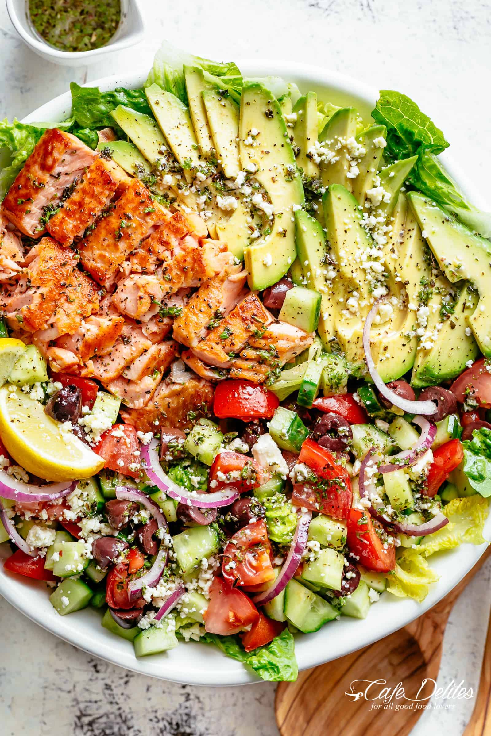 Mediterranean Salmon Salad from Cafe Delites on foodiecrush.com