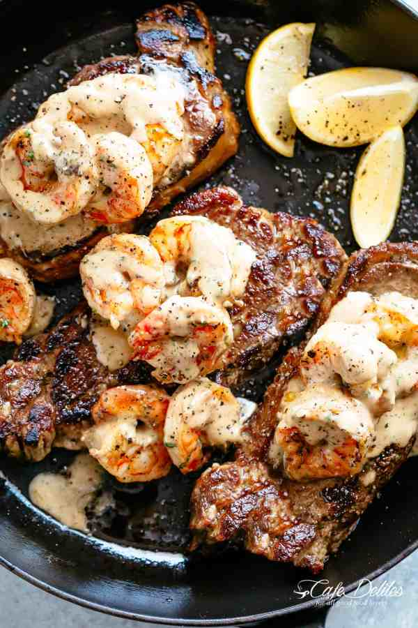 Steak And Creamy Garlic Shrimp is a fast and easy to make gourmet steak dinner! | cafedelites.com