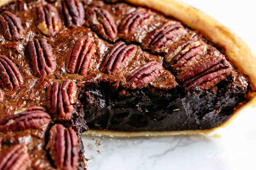 Chocolate Pecan Pie inside