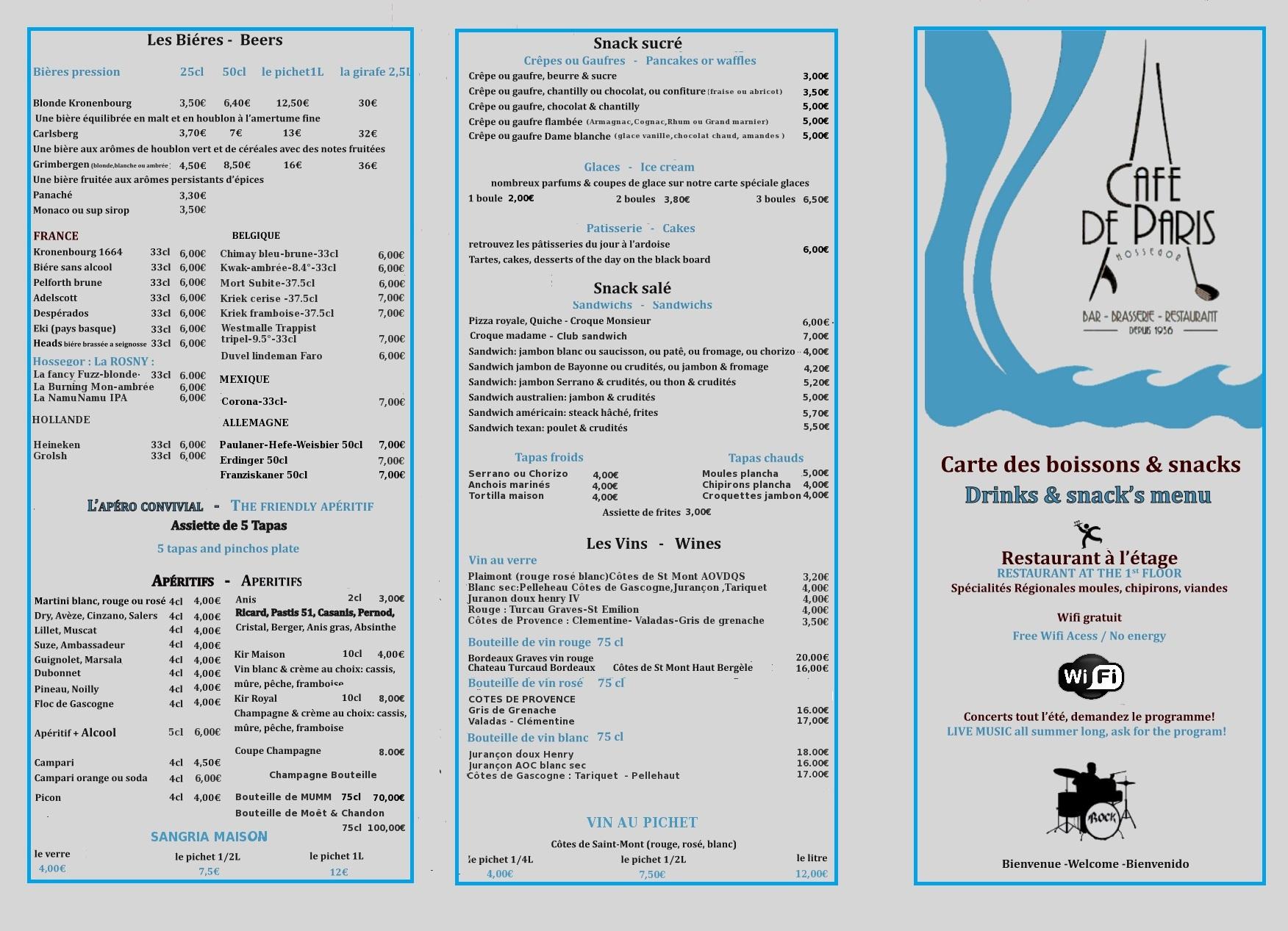La carte du bar  caf de Paris Hossegor