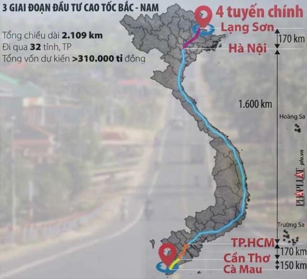 Các giai đoạn đầu tư dự án cao tốc Bắc-Nam Chính phủ trình lên Quốc hội. Đồ họa: HỒ TRANG