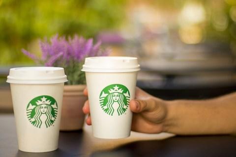 2 Starbucks cups