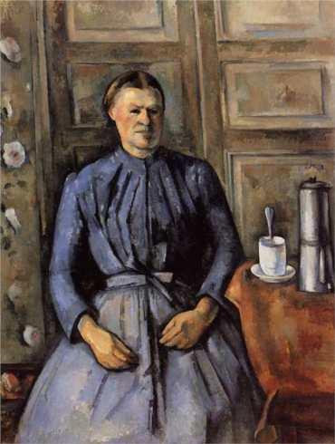 Paul Cezanne painting woman coffee pot