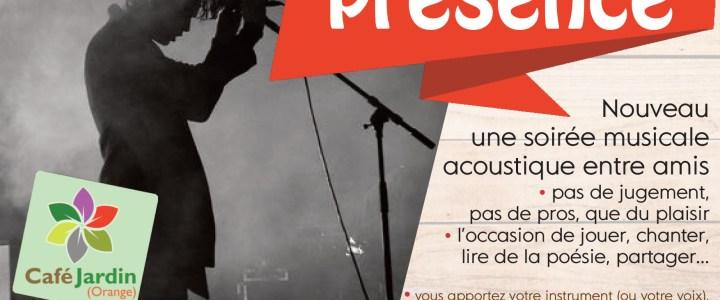 «PRESENCE» – soirée musicale – samedi 27 avril