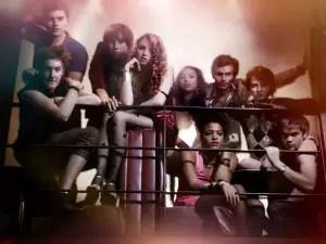 De derecha a izquierda: Alo, Nick, Rich, Minnie, Grace, Liv, Matty, Franky y Alex.