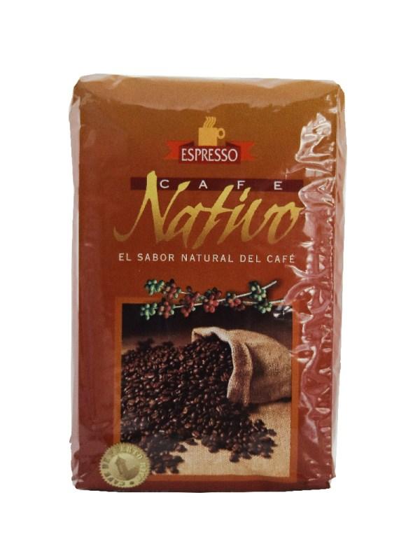 Paquete de café espresso Cafe Nativo grano molido