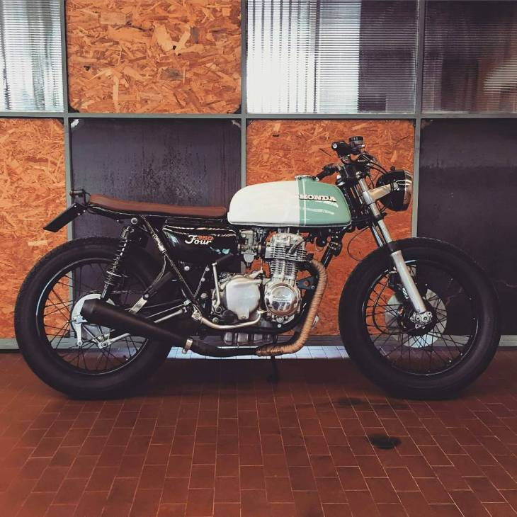 By @apache.customs - • #HONDA CB350 four >--->> ONE OF THE FIRST . #caferacer #caferacers #caferacersofinstagram #caferacersculture #caferacerbuilds #vintage #vintagestyle #vintagefashion #motocycle #moto #motos #motorcycles #oldstyle #oldschool #bratstyle #motorbike #motor #helmet