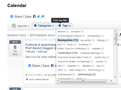 Calendar Tag list, with a Filter applied and the 'clear filters' tooltip visible