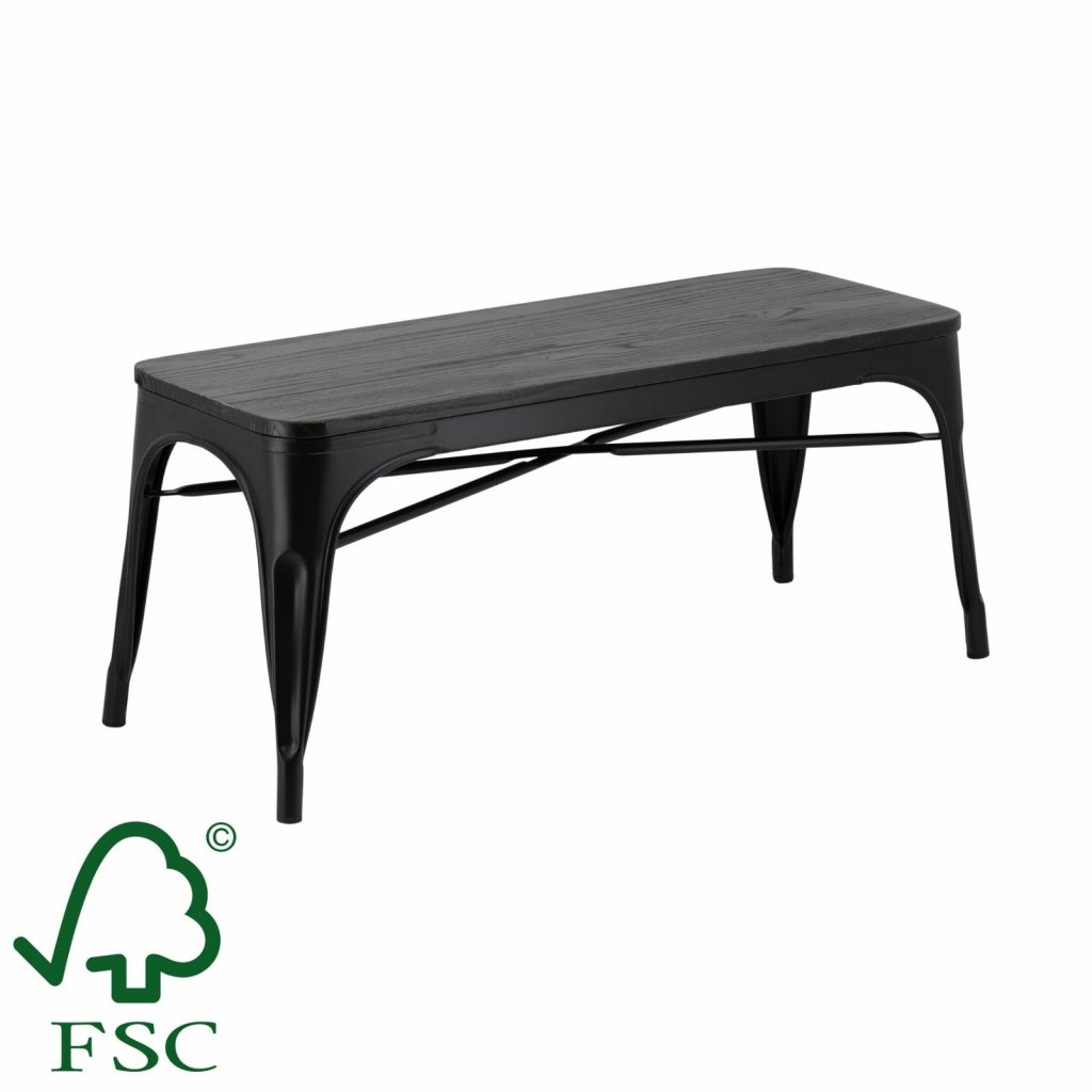 Replica Tolix Bench Seat With Timber Top In Matte Black Cafe Solutions