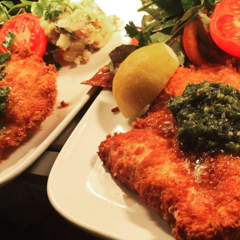 Chicken Schnitzel on the pass, one of our weekly specials.