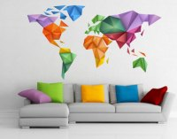 World Map Japanese Art Origami Wall Print Design For ...