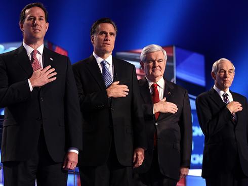 Rick Santorum, Mitt Romney, Newt Gingrich and Ron Paul before CNN-Southern Republican Debate in Charleston, SC
