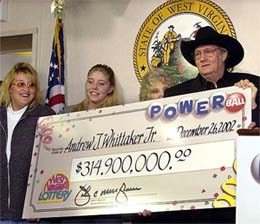 Jack Whitaker with Lottery Check