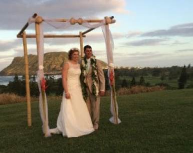 Natalie Heimel and Edward Mallue are married Sunday in Hawaii. Courtesy of Jamie McCarthy