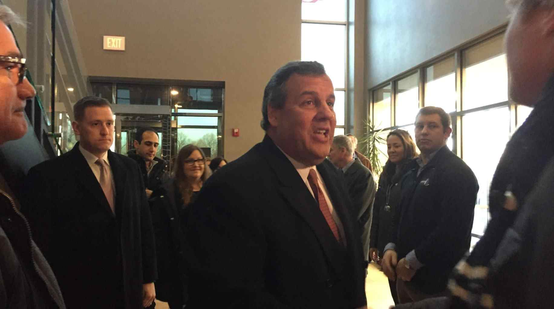 New Jersey Governor Chris Christie greets supporters in Johnston, Iowa.