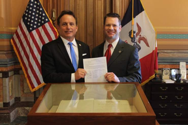 Iowa Secretary of State Paul Pate (on right) with State Senator Charles Schneider (R-West Des Moines)