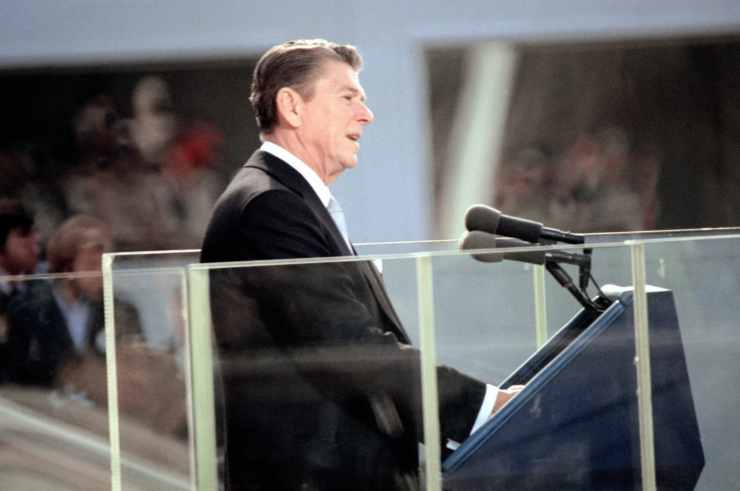 A view of Ronald Reagan, the 40th president of the United States, as he delivers his Inaugural address on 1/20/81.
