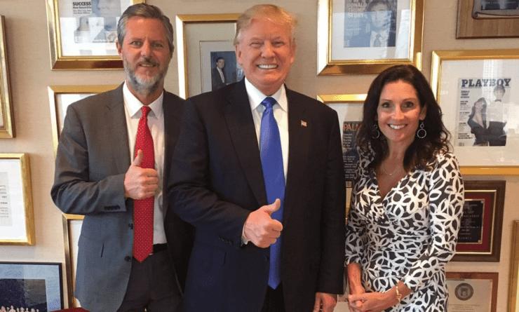 Jerry Falwell Jr., Donald Trump, and Kelli Falwell