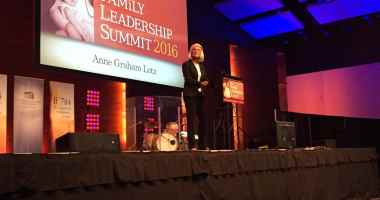 Anne Graham Lotz speaking at the 2016 Family Leadership Summit on 7/9/16 in Des Moines, IA. Photo credit: Kelvey Vander Hart
