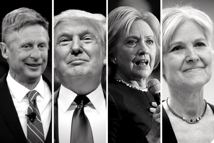 From left: Gary Johnson, Donald Trump, Hillary Clinton, & Jill SteinPhoto credit: Gage Skidmore