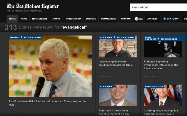 Des Moines Register - Evangelical results