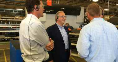 Congressman David Young (R-IA) visited the Vermeer Corporation in Pella on July 27, 2016.