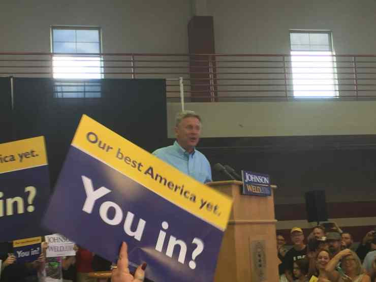 Gary Johnson at rally in Des Moines, IA on 9/3/16.