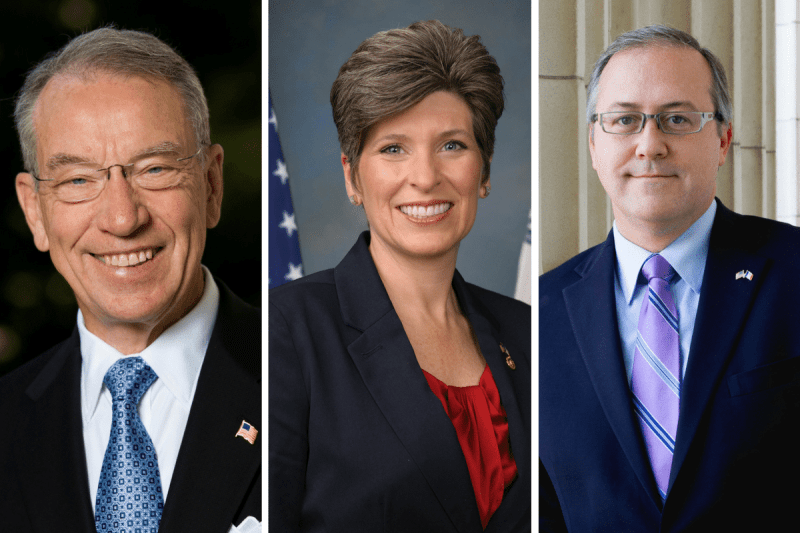 U.S. Senator Chuck Grassley (R-Iowa), U.S. Senator Joni Ernst (R-Iowa) and Congressman David Young (R-Iowa)