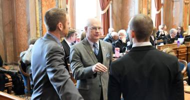 State Representative Steven Holt (R-Denison) greets State Representative Skyler Wheeler (R-Orange City) on Opening Day 2017.