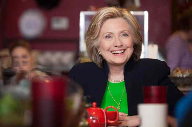 Hillary Clinton at an early campaign event in - Jones Street Java House in Le Claire, Iowa, April 2015