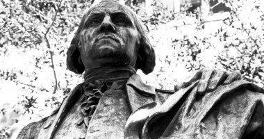 black and white statue of george washington