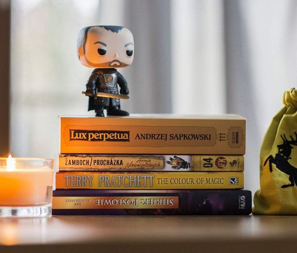 A stack of books with a medieval figurine