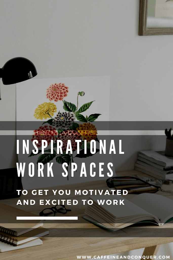 Inspirational work spaces to get you motivated and excited to work. Desk Inspiration | Work Space Tips | Work Space Ideas | Work Space Design | Modern Workspaces | Decor Ideas #workspaces #motivation #productivity #bossgoals