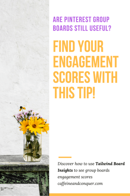"""A pinnable image. The left side is a photograph of flowers, the right side is white with text that says: """"Are Pinterest group boards still useful? Find out engagement scores with this tip! Discover how to use Tailwind Board Insights to see group boards engagement scores caffeineandconquer.com"""""""