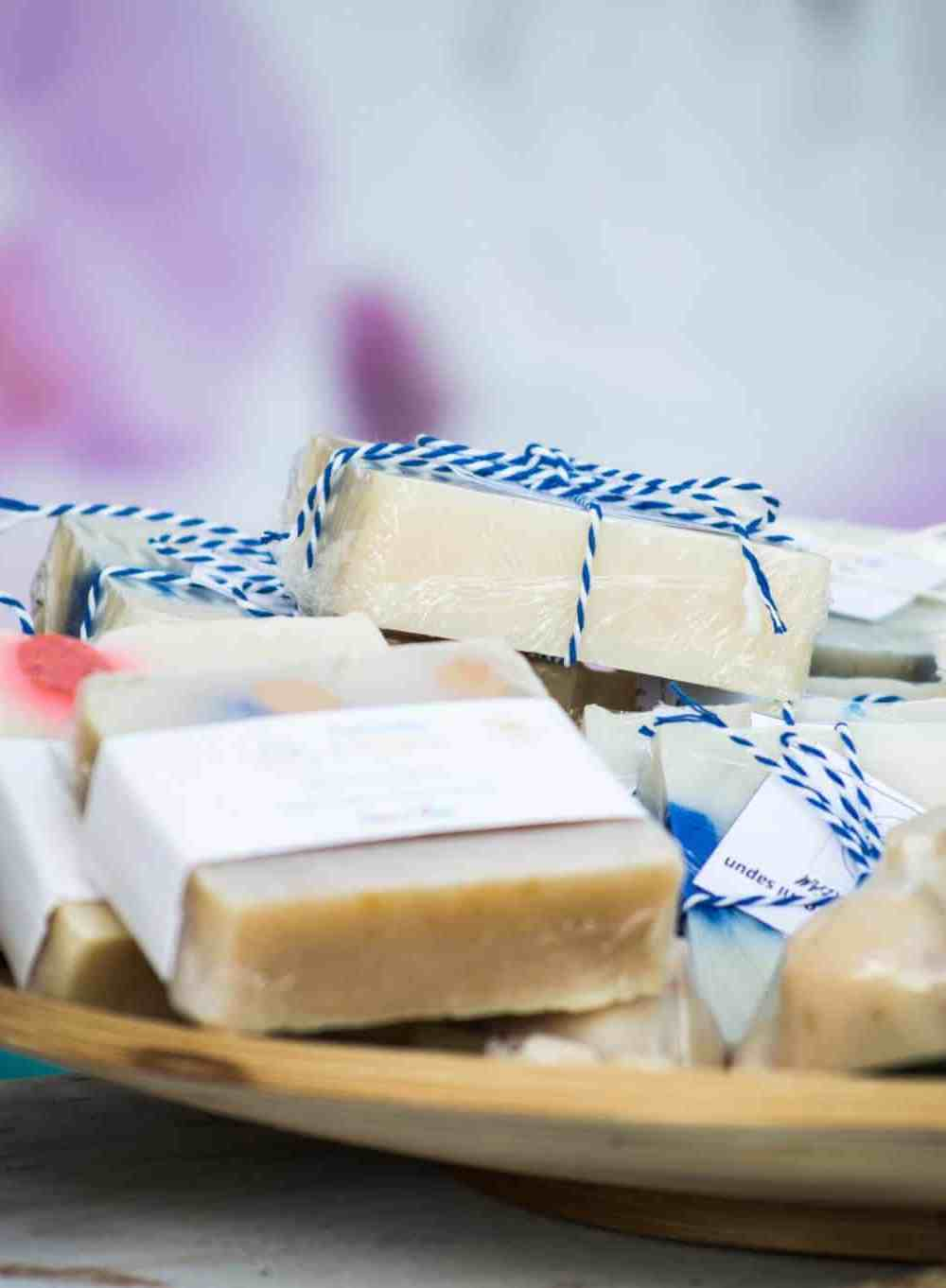 A photograph of homemade soap bars, which is thinking locally.