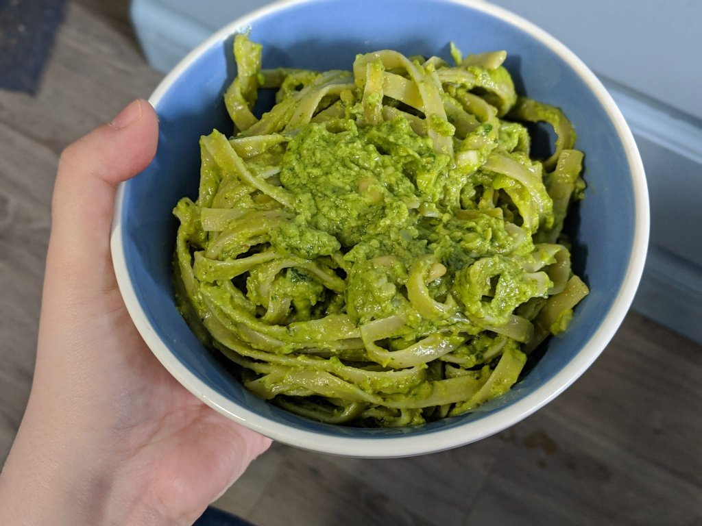 What I eat in a day: A bowl of avocado pesto pasta