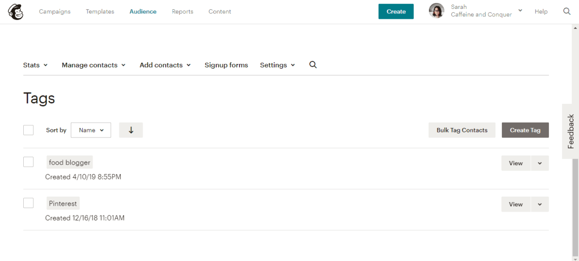 """A screenshot of Mailchimp """"Tags"""" page"""