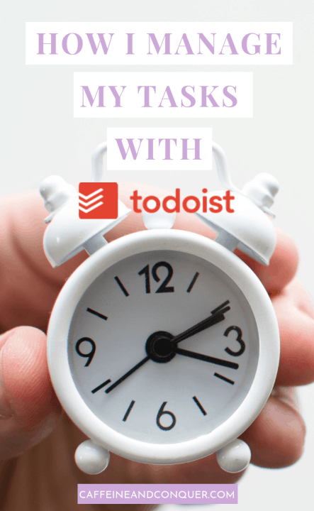 """A pinnable image """"How I Manage My Tasks With Todist"""" with a hand holding a small white alarm clock"""