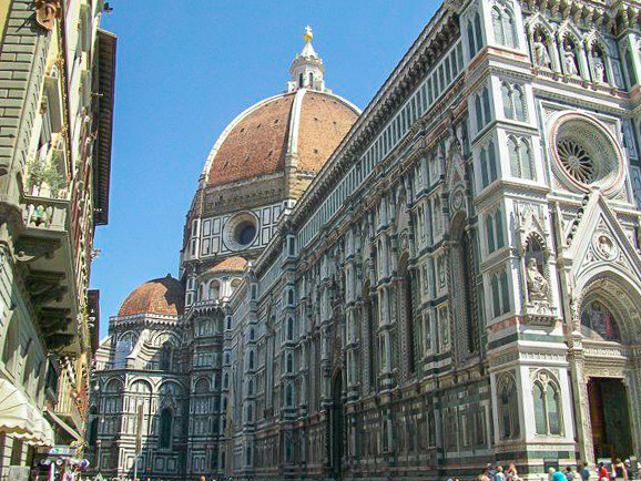 Visit the famous leather markets and climb to the top of the Duomo in Florence, Italy