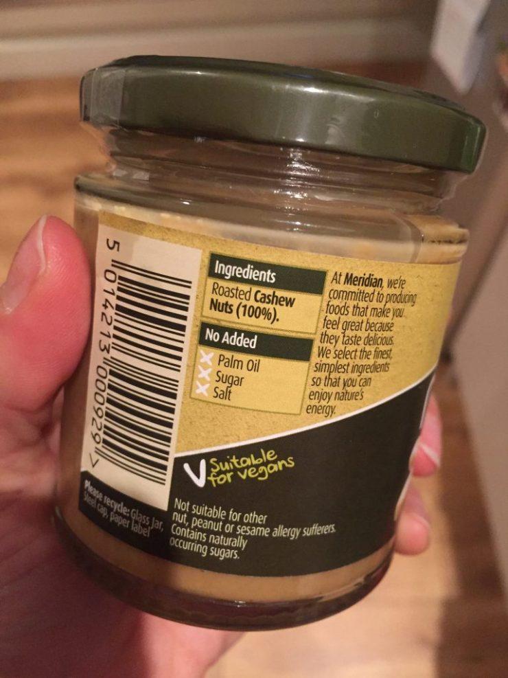 Meridian Smooth Cashew Butter - Ingredients