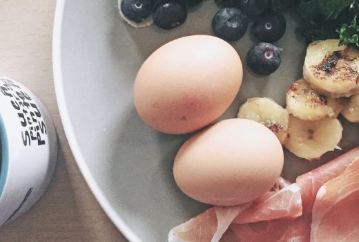 hard boiled egg, ham, blueberries and kale