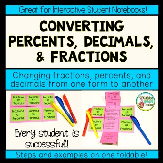 Converting fractions, decimals, and percents from one form to another foldable activity