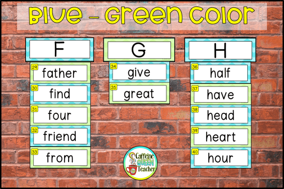 Blue-Green colored sight words for a word wall