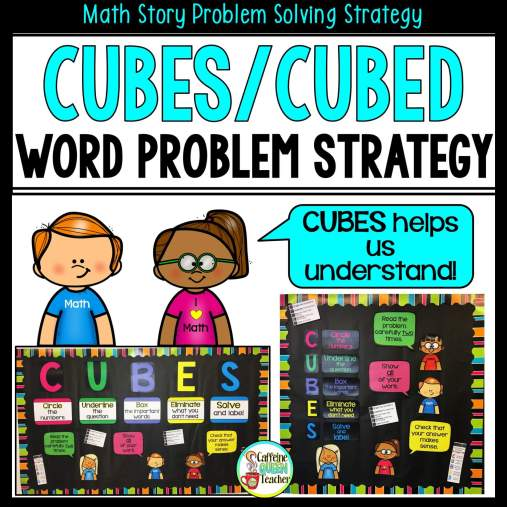 CUBES and CUBED math word problem strategy posters