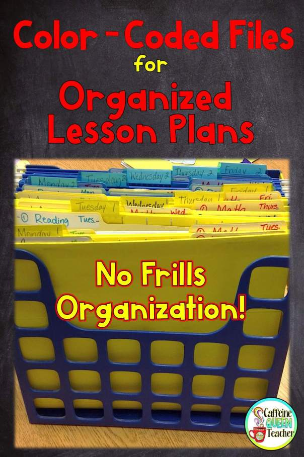 Color Coded Files for Organized Lesson Plans - 2 weeks of lessons all at your fingertips